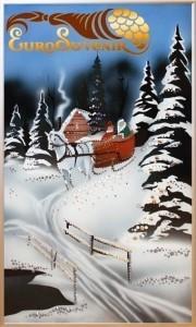 Картина Swarovski Зимний мостик