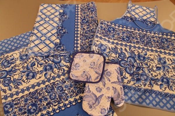 Набор кухонный: полотенце, фартук, прихватка, варежка