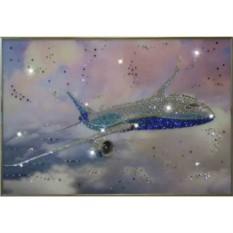 Картина с кристаллами Swarovski Самолет