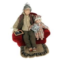 Фарфоровая кукла Дедушка, высота 46 см