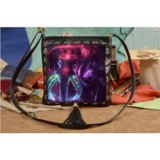 Женская сумка-планшет с принтом Два фиолетовых слона