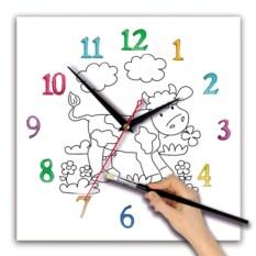 Детские часы-раскраска Коровка
