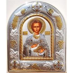 Икона Пантелеймон Целитель в серебряном окладе