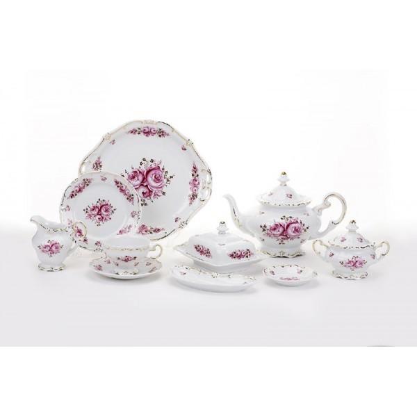 Фарфоровый чайный сервиз на 12 персон Роза