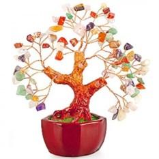 Дерево счастья из натуральных камней Микс камней