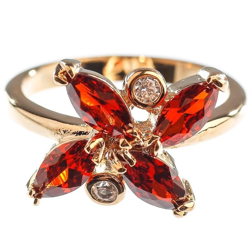 Позолоченное кольцо с гранатом и фианитом Цветок