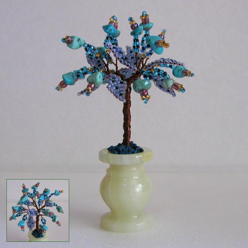 Миниатюрное дерево счастья из бирюзы в вазочке из оникса