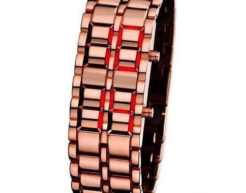 Часы Iron Samurai, бронзовые с красной подсветкой