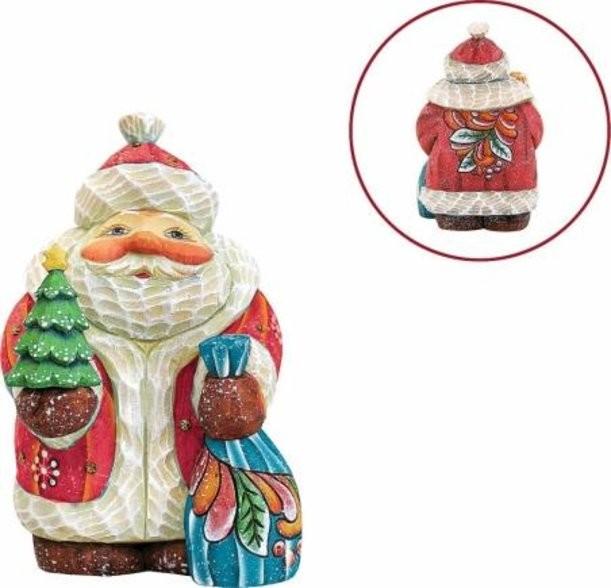 Новогодняя коллекционная игрушка Дед Мороз с елкой