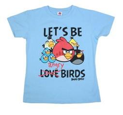 Голубая женская футболка Let's be angry birds