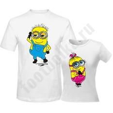 Парные футболки Мальчик и девочка, с миньонами