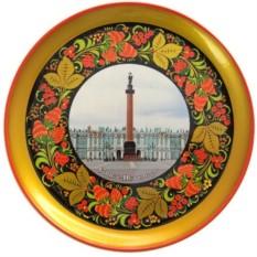 Тарелка хохлома Санкт-Петербург. Александровская колонна