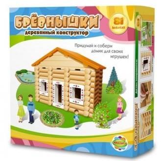 Деревянный конструктор Бревнышки. (81 элемент)