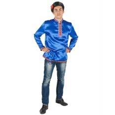 Мужская атласная синяя косоворотка