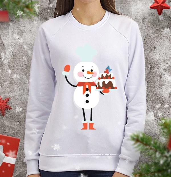 Женский свитшот Снеговик-кондитер