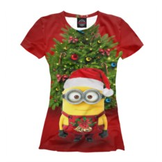 Женская футболка Новый год и миньоны