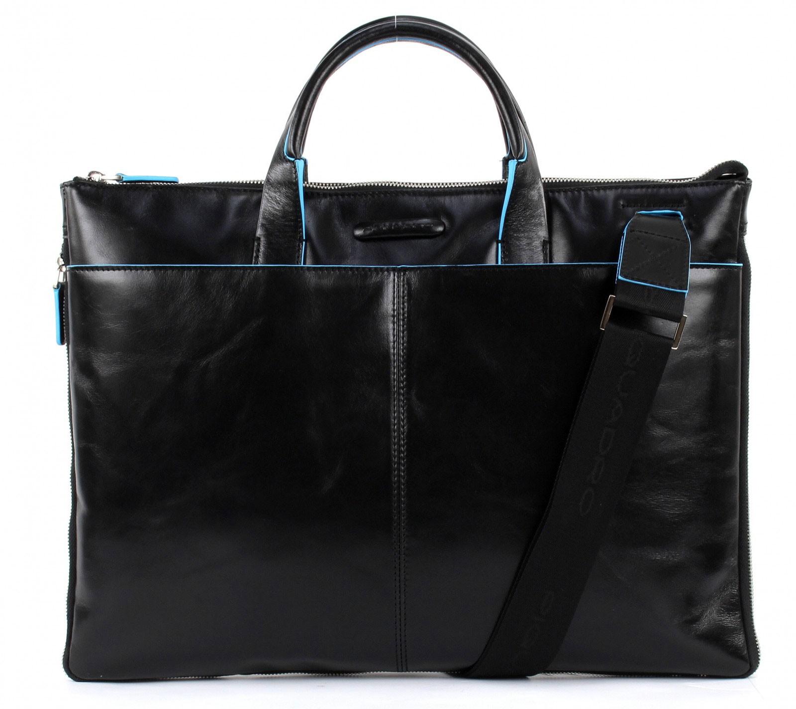 Кожаная тонкая черная сумка Piquadro Blue Square