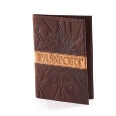 Коричневая обложка для паспорта с тиснением