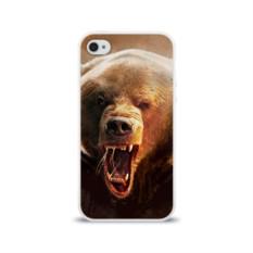 Силиконовый глянцевый чехол для Apple iPhone 4 Медведь