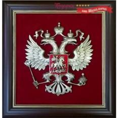 Плакетка Герб России на красном фоне