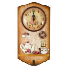 Ключница-коллаж с часами Цветы