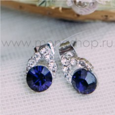 Серьги с синим кристаллом Сваровски «Фея»