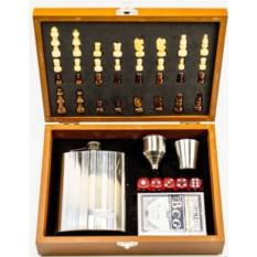 Подарочный набор стопки с флягой на 8 унций, кости и шахматы
