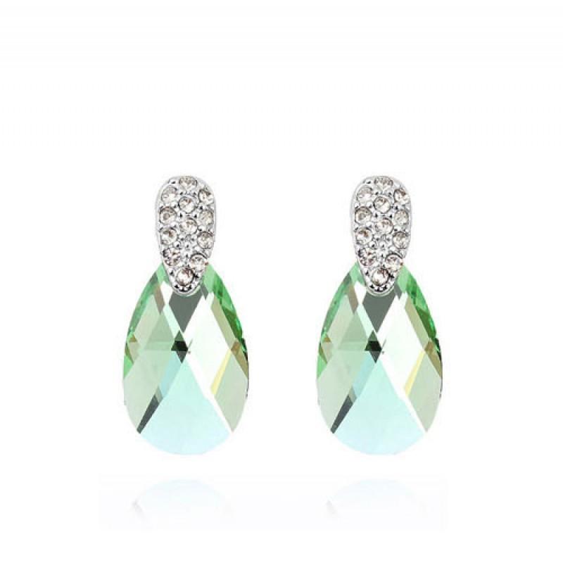 Серьги с зелеными кристаллами Сваровски «Слеза Афродиты»