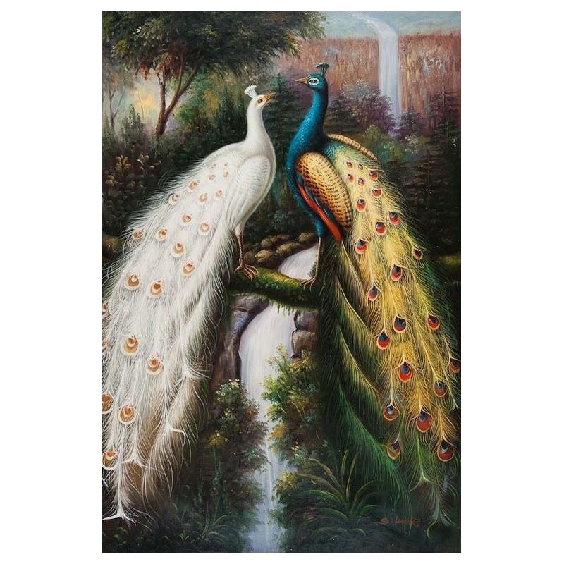 Картина-раскраска на холсте по номерам Два павлина