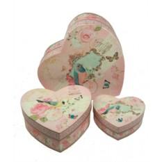 Коплект из 3 коробок в виде сердца Розы