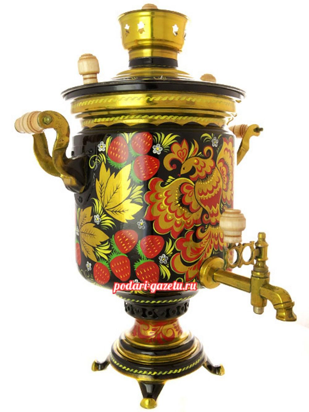 Комбинированный самовар (электрический/угольный) на 7 литров с художественной росписью Жар-птица