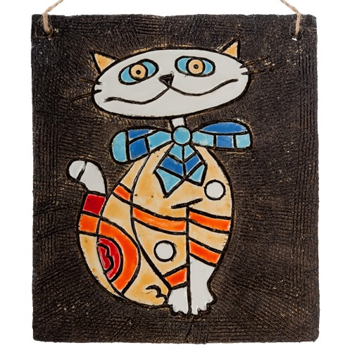 Панно Кот с бантом шамот