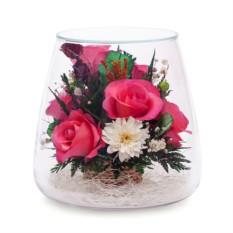 Цветы в стекле: Композиция из розовых роз и орхидей