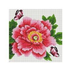 Алмазная вышивка «Розовый цветок и бабочки»