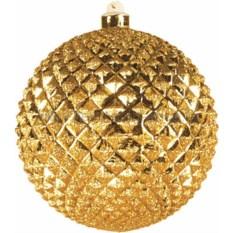 Елочная игрушка Рельефный шар золотого цвета