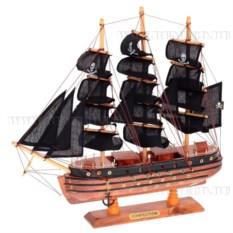Корабль с пиратскими парусами, длина 40 см