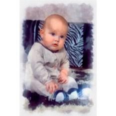 Детский портрет акварелью на холсте