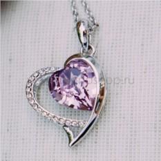 Кулон с фиолетовым кристаллом Сваровски «Хрустальное сердце»