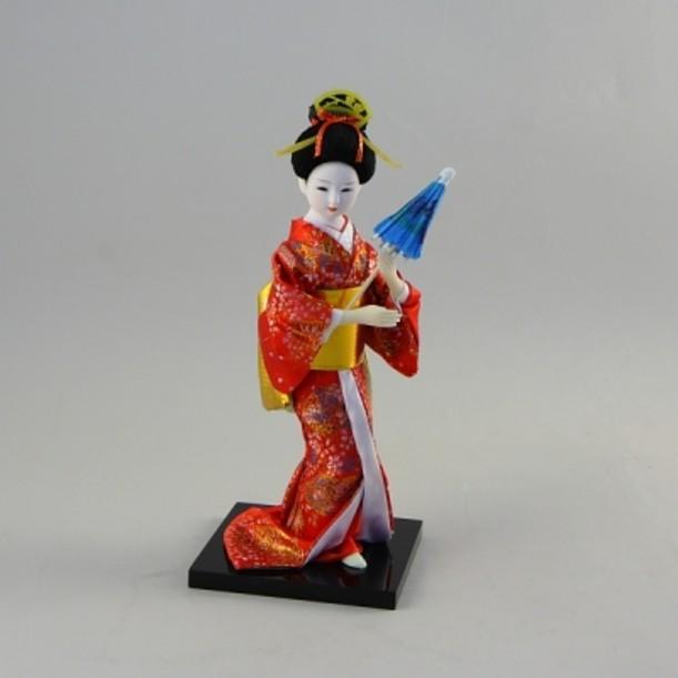 Статуэтка Гейша с зонтиком в красном кимоно