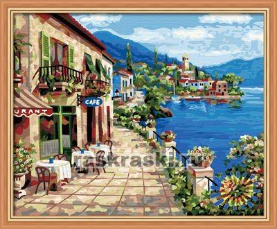Раскраска по номерам Hobbart «В кафе на побережье»