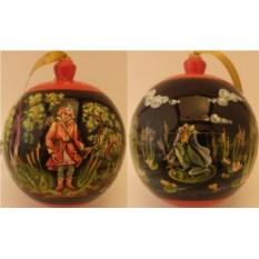 Деревяный елочный шар-шкатулка Царевна лягушка