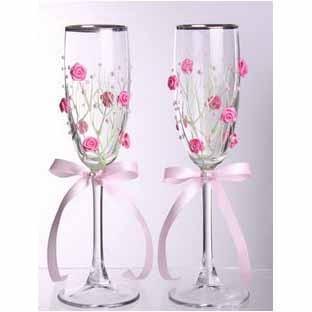 Свадебные бокалы с серебряной каймой