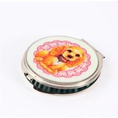 Круглое карманное зеркальце Собачка