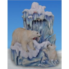 Декоративный фонтан Семья белых медведей у льдины