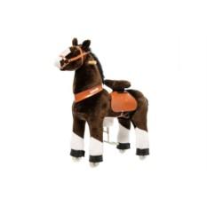 Средняя детская механическая лошадка Чернобурка
