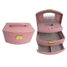 Розовая шкатулка-автомат, размер 22х16х12см