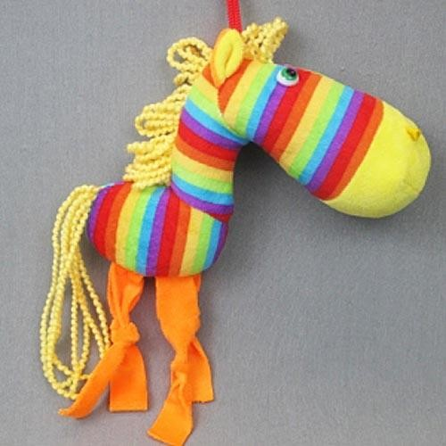 Игрушка подвесная Лошадка полосатая - символ 2014 года