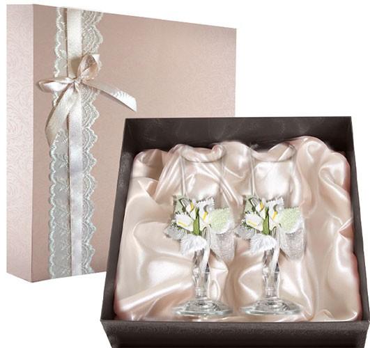 Набор свадебных бокалов в подарочной коробке Ретро №15