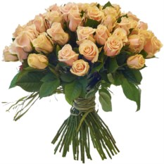 Букет из 51 розы сорта Талея в стильной крафтовой бумаге