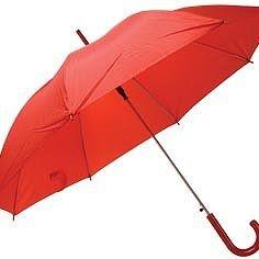 Зонт с пластиковой ручкой, красный